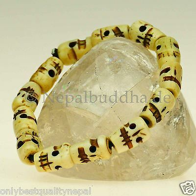 Bracelet white Heads Fun Art Nepal Jewelry Asian s46