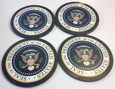 Presidential SEAL/ eagle coasters set of 4 Multi color logo stand alone