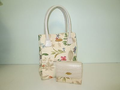 Longaberger Botanical Fields Purse Tote and Wallet