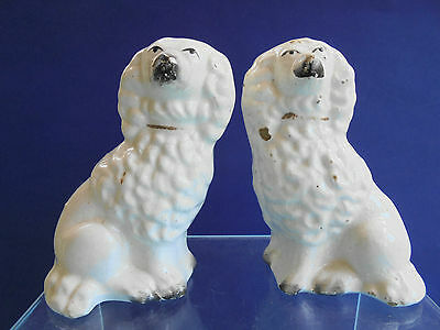 ANTIQUE STAFFORDSHIRE POTTERY FLAT BACK MANTLE SPANIEL DOGS c1820 RARE SIZE