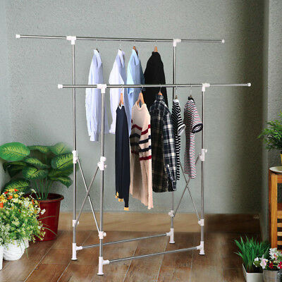 Heavy Duty Collapsible Adjustable Clothing Double Rail Garment Rack Hanger New