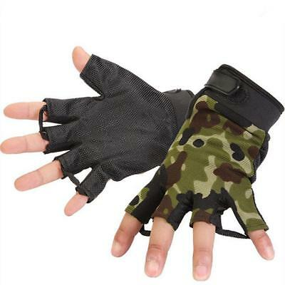 Camo Half Finger Gloves Mitts for Outdoor Climbing Fishing Cycling Sports L