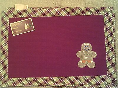 "Set Of 4 Ginger Bread Boy Placemats, 19:"" X 13"" Machine Washable"
