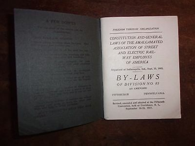 1917 Constitution & Laws Of Amalgamated Assn. Of Street And Electric Railway Emp