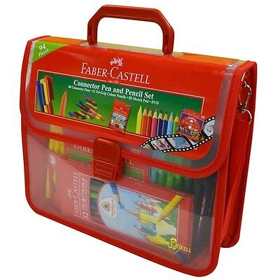 FABER CASTELL Connector Pen And Pencil Set Kids Art Drawing 94 Pieces DVD Pad