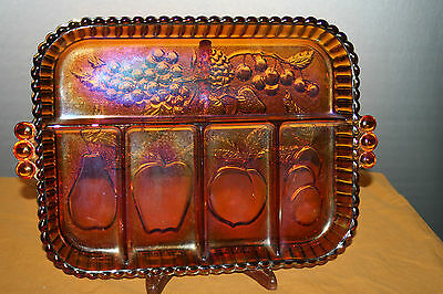 Vintage Indiana Glass 5 part relish dish with handles Fruit Amber pattern