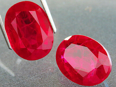 28.75ct 2PC PAIR LAB CREATED AAA+ GORGEOUS PIGEON BLOOD RED RUBY CHATHUM OVAL