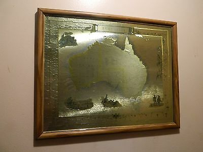 Vintage Stunnung Map Of Australia Printed On Gold Paper In Glass Framed