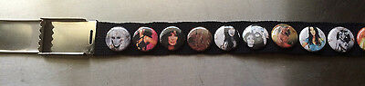 """CHER Canvas Belt with 28 VINTAGE Pins 40"""""""
