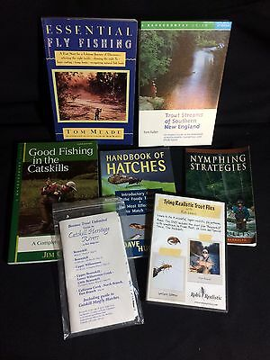 Lot of 7 Fly Fishing Books/Maps/DVD Fly Tying, Catskills, New England, Trout++