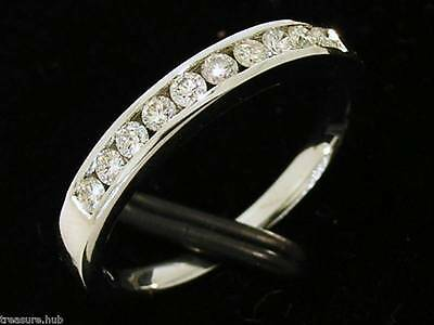 R165- Genuine SOLID 9ct White Gold NATURAL Diamond Half ETERNITY Ring size M