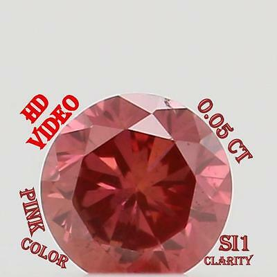 0.05 Cts Natural Loose Diamond Cut Round Shape Pink Color N1418