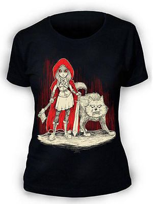 Afterlight Cappuccetto Rosso T-Shirt Donna Gothic Punk Rock Emo Wolf