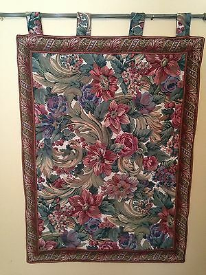 Victorian Floral Tapestry Wall Hanging With Antique Warm  Colors.