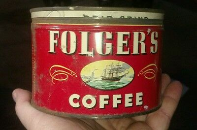 1944 folgers vintage coffee can