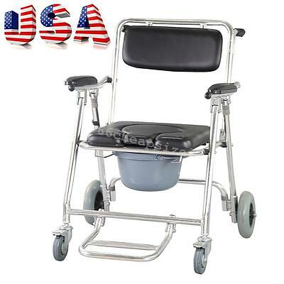 Commode transport Wheelchair Mobile Bedside Toilet Shower Chair Bathroom USA