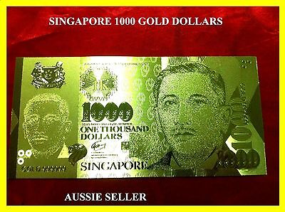 Singapore Gold 1000 One Thousand Dollars Banknote Rare 3D Unc 24Kt Gold  Note
