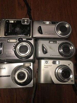 Lot Of Six Digital Cameras Untested Kodak Hp Sony Olympus For Parts Or Repair