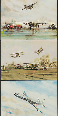 k1763)  5 x ARTIST SIGNED POSTCARDS  OF BRITISH  MAIL PLANES FROM A 1986 SERIES