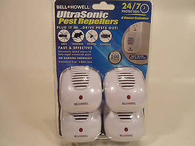 Bell Howell Ultra Sonic Pest Mice Bug  Repeller 24/7 Protection 4 Pack Plug In
