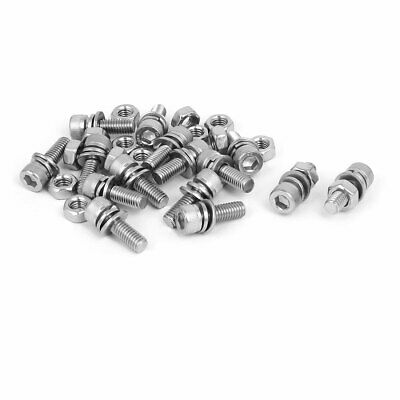 M6 x 18mm 304 Stainless Steel Hex Socket Head Cap Screws Nuts w Washers 15 Sets