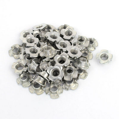 M8 x 8mm Four Pronged Tee Nuts Captive Blind Inserts 50pcs for Wood Furniture