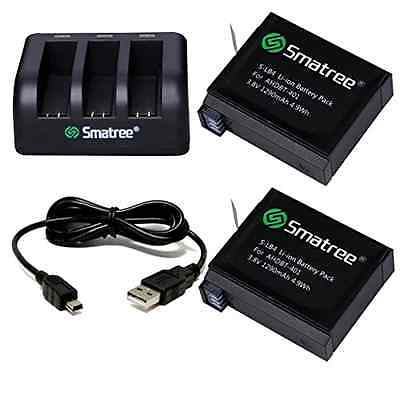 Smatree Replacement battery (2-Pack) and 3-Channel charger + USB Cord for Gopro