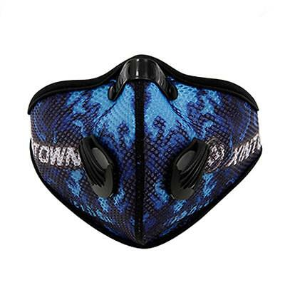 Bike Outdoor Cycling Anti-dust Half Face Mask With Filter Mesh Cloth Blue