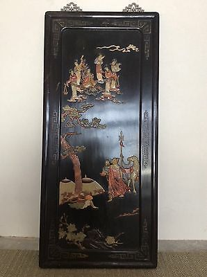 Chinese Shoushan Stone Ornament Wooden Board / W 51 × H 111cm  5500 g