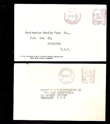 Australia 2x postage paid covers 1951 / 1954 see scans x2