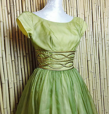vintage 1950s dress 50s cocktail prom swing green chiffon formal party
