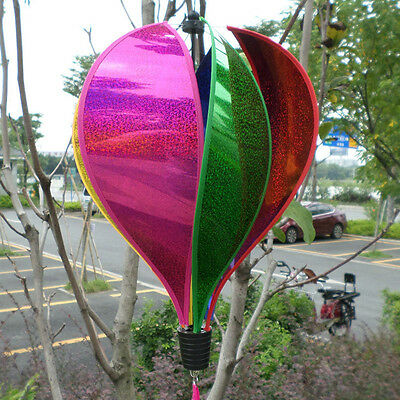 Rainbow Hot Air Balloon Sequins Windsock Striped Wind Spinner Outdoor Yard Decor