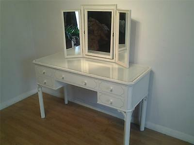 Georgian style dressing table triple mirror ivory paint finish