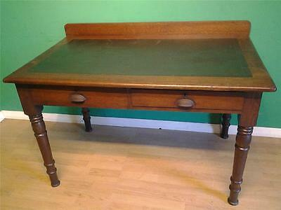 Victorian  oak two drawer writing table desk