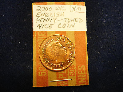 2000 Uncirculated English Penny---Toned--Nice Coin