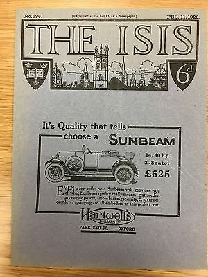 Very Rare 'The ISIS' Magazine Rover Front Cover Vintage Car Advert Feb 11th 1925