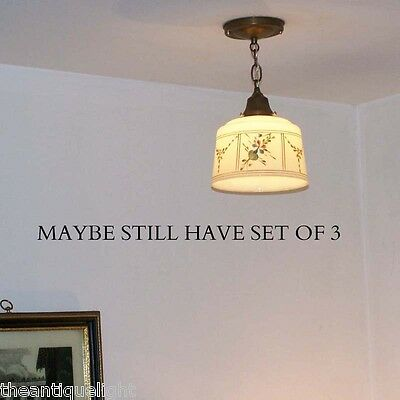 831 Antique 1910 20's CEILING LIGHT lamp fixture glass shade hall kitchen 1 of 2