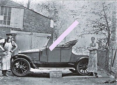 Photo glass plate, car, Lang & Webb coachbuilders, Holloway, with two workers  3