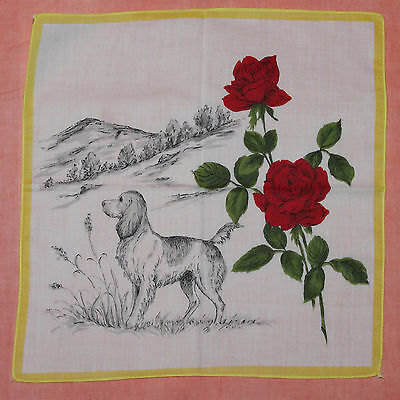 Vintage Childrens Hanky - Dog And Roses