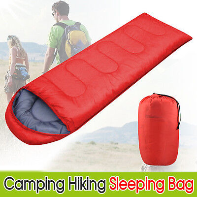 3 Season Single Adult Camping Hiking Case Envelope Sleeping Bag Red