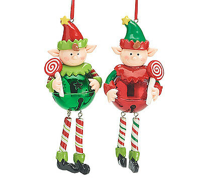 Christmas Holiday Ornament Clay Crafted Elf, Lollipop, Jingle Bell 2 Piece Set