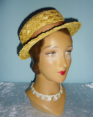 Vintage Golden Yellow Straw Hat~Woolsand~1950s 40s