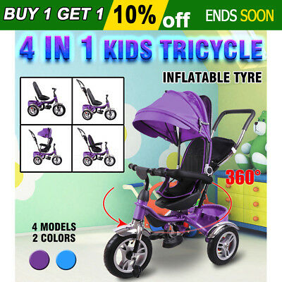 4In1 Kid Reverse Toddler Tricycle Bike Ride Trike Handle Push Ride-On Toys Prams