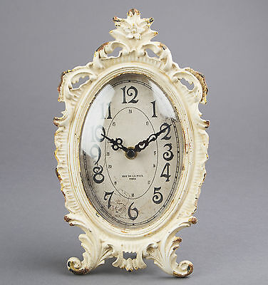 Cream Oval Mantel Bedside Table Clock Shabby French Chic Sass & Belle