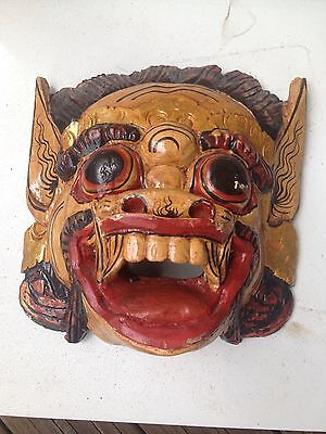 Old Balinese Carved Wooden Dance Mask / Wall Hanging