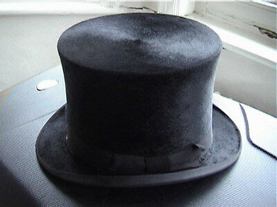 Victorian Extra Quality Black Silk Top Hat Sz. 6⅞ Excellent .