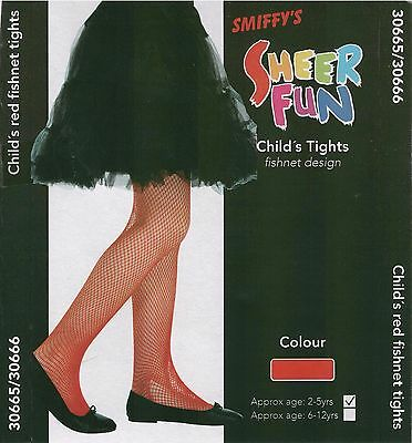 Halloween Costume Childrens Girls Age 2-5 Years  Fishnet Tights Sheer Fun Red