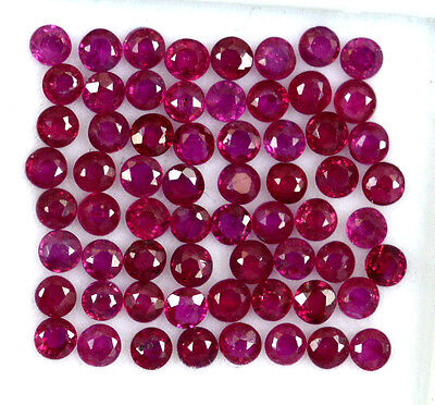 Natural Ruby Round Cut 2 mm 3.96 Cts 86 pcs Lot Red-Pink Shade Loose Gemstones