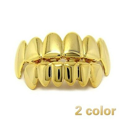 Gold/Silver Plated Hip Hop Mouth Teeth Grillz Caps Top & Bottom Detal Grill