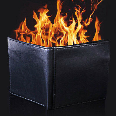 Magic Gimmick Flame Fire Bifold Wallet Leather Magician Stage Street Trick